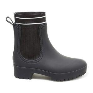 Catherine Maladrino Matte Black Stripe Rain Boot